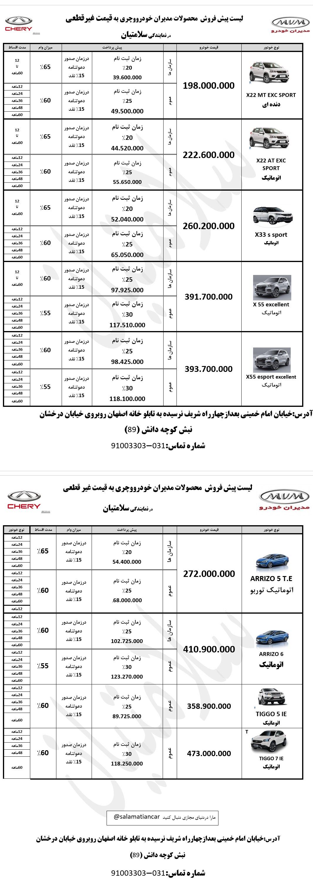 شرایط فروش و قیمت خرید MvM و Chery اسفند ماه