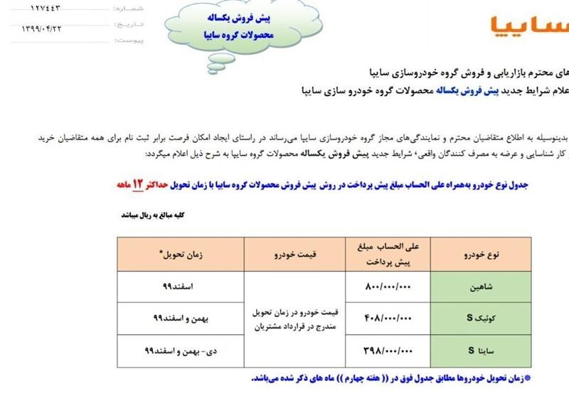 شرایط فروش و قیمت خرید سایپا Saipa تاریخ 99/04/23